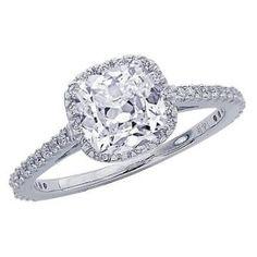 1.07 Carat Cushion Cut / Shape 14K White Gold Gorgeous Classic Cushion Halo Style Diamond Engagement Ring ( G-H Color , SI3 Clarity )   Ariani-Shop.com
