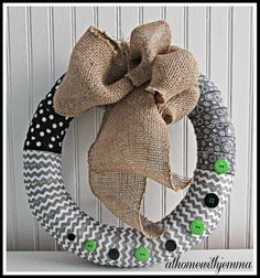 Fabric and Button Spring Wreath-DIY Wreath Ideas, Diy Wreath, Burlap Wreath, Wreaths, Diy Spring Wreath, Heart Wreath, Diy Pins, Inspirational Thoughts, Homemaking