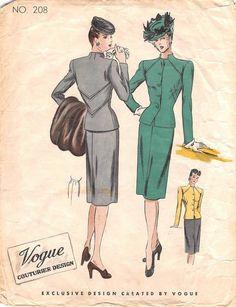 VOGUE 208 - FROM 40S - UNCUT - MISSES SUIT DRESS