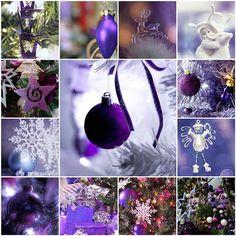Purple Christmas all-things-purple Purple Christmas Decorations, Purple Christmas Ornaments, Christmas Collage, Cool Christmas Trees, Christmas Tree Themes, Silver Christmas, Christmas Love, Christmas And New Year, All Things Christmas