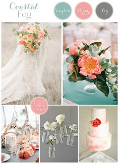 Coastal Fog – a Poppy and Teal Inspiration Board wedding theme color ideas - coral pink and teal