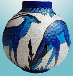 "Art Deco ceramic vase ""Biches Bleues"" by Catteau for Boch Feres, Belgium 1925"