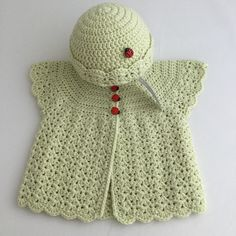 Crochet Sleeveless Baby Cardigan and Hat in Pale Green £20.00