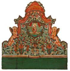"""Cama """"de Olot"""" en madera pintada, de la segunda mitad del siglo XVIII"""