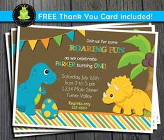 Dinosaur Birthday Invitation FREE Thank You by ForeverYourPrints, $15.00