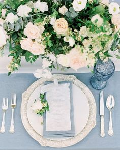 Romantic Bridal Style with French Blue Accents You will find different rumors about the history of … Romantic Wedding Receptions, Romantic Weddings, Wedding Themes, Wedding Colors, Wedding Decorations, Wedding Poses, Unique Weddings, Wedding Ideas, Blue Table Settings