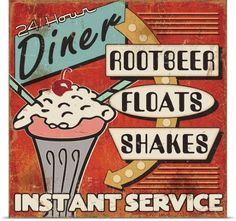 Great Big Canvas 'Diners and Drive Ins III Vintage Advertisement Format: White Frame, Size: H x W x D 1950 Diner, Retro Diner, Retro Ads, Posters Vintage, Vintage Ads, Love One Another Quotes, Diner Sign, Diner Decor, Pause Café