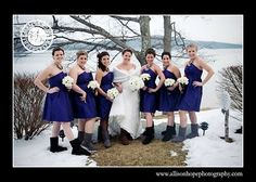 Winter weddings offers a unique chance for extra fun - boots in the wedding photos! This bride chose Uggs as bridesmaid gifts.