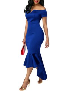 Ebbizt Womens Amazon Sexy Off Shoulder V Neck High Low Bodycon Mermaid Prom Night Cocktail Midi Dress Blue Small at Amazon Women's Clothing store:
