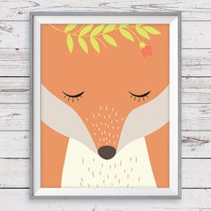 Fox Wall Art, Instant Download, 11x14, Modern Fox Nursery art, Woodland Fox Art Print    This Fox print is part of our Woodland Wreath Set. Mix and