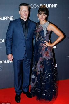 Perfection: Last week the couple attended the Paris premiere of the film; Matt wore a navy suit with a black button up while Luciana rocked a patterned frock; pictured on July 12 at Cinema Pathe Beaugrenelle Bourne Movies, Jason Bourne, Looking Dapper, Matt Damon, Oscar Winners, Hot Couples, Celebrity Look, Red Carpet Dresses, Put On