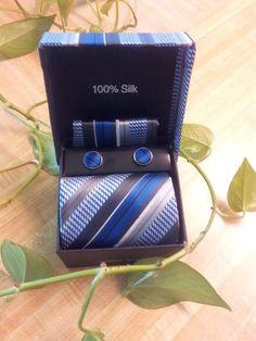 100% Silk Tie/ Hankie/ Cufflink Box Set Priced At $34.99
