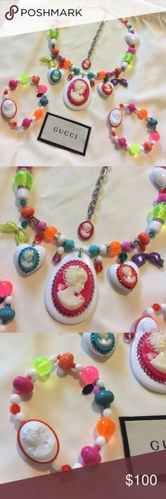 Tarina Tarantino muti colored Cameo set 3 piece set Beautiful multi color set with Rhinestones and rainbow 🌈 beads with cameos Tarina Tarantino Jewelry