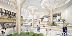 Mall Design, Retail Design, Terminal, Landscape Architecture Design, Graduation Project, Wayfinding Signage, Lobbies, 3d Rendering, Atrium