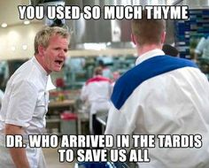 This is really funny except that it is DOCTOR who not Dr. Who, and his name is the Doctor Memes Humor, Food Humor, Cooking Humor, Tv Memes, Gordon Ramsay Funny, Gordon Ramsay Quotes, Doctor Who, Doctor Strange, Funny Quotes