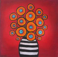 "SOLD/ Original painting, Orange on Red, flowers $ 165. Acrylic on canvas, 12 x 12 x 1.5"" painted sides  by Shelagh Duffett, If interested contact duffettfolkart@yahoo.ca"