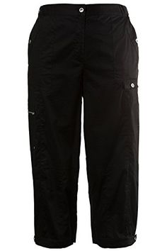 Ulla Popken Womens Plus Size Poplin 78 Cargo Capri Pants Black 2426 702358 10 >>> Continue to the product at the image link. (Note:Amazon affiliate link)