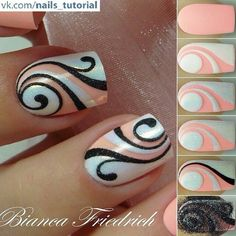 Beautiful nail art designs that are just too cute to resist. It's time to try out something new with your nail art. Diy Nails, Cute Nails, Pretty Nails, Colorful Nail Designs, Cute Nail Designs, Colourful Nail, Nagellack Party, Swirl Nail Art, Peach Nail Art