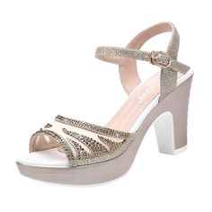TandGrade Women Fashion Elegant Peep Toe Slip On Mesh Rhinestone Ankle Strap Sling Back Sandals ** To view further for this item, visit the image link.