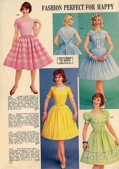 Charming warm weather dresses from a 1962 Lana Lobell catalog. #vintage #fashion #dress #1960s