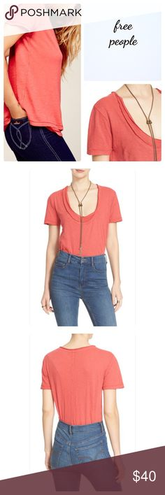 """🆕 FREE PEOPLE Phoebe Layered Tee Free People Phoebe Layered tee!                         Scoop neck - Short sleeves - Layered front - Approx. 27.5"""" length 100% cotton Free People Tops Tees - Short Sleeve"""