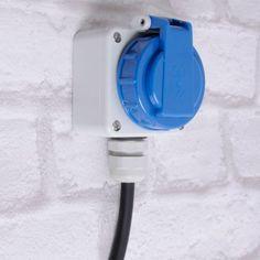 Aufputz-Aussen-Steckdose-Garten-Stromversorgung-Keller-IP66-Kunststoff-grau-blau