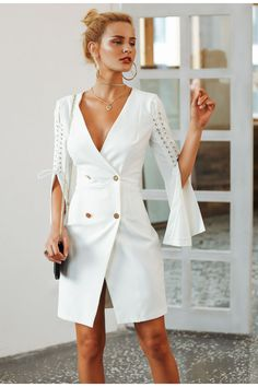 21901d98dc9 Simplee Elegant lace up split blazer women dress Autumn 2018 double  breasted white dress Office slim ladies dresses vestidos - Lady Shop -  Store for the ...
