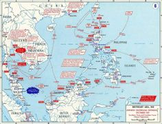 [Map] Map showing Japanese offensives in Dec 1941 Ww2 Facts, Wake Island, United States Military Academy, Map Layout, Mindanao, Photo Maps, East Indies, Borneo, Military History
