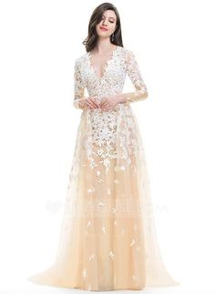 52f9485b4 A-Line/Princess V-neck Sweep Train Cascading Ruffles Zipper Up Sleeves Long  Sleeves Hall General Plus No Winter Spring Summer Fall Other Colors Tulle  US 2 ...