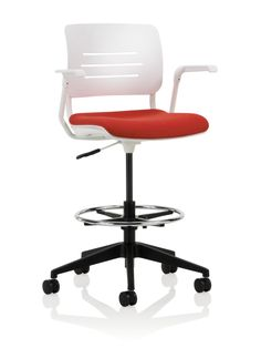 Grazie Task Stool With Upholstered Seat Arms