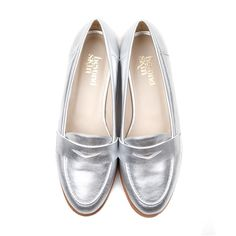 Kate silver faux leather loafer vegan shoes #vegan #ethical #fashion www.beyondskin.co.uk
