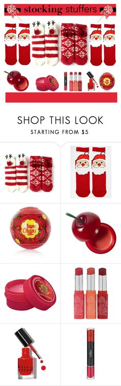 """""""Stocking Stuffers"""" by yours-styling-best-friend ❤ liked on Polyvore featuring beauty, ASOS, Topshop, Tony Moly, SkinCare, Bare Escentuals, Bobbi Brown Cosmetics, L'Oréal Paris, red and lips"""