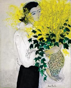 Andre Brasilier (born in 1929) - Bouquet of forsythia, N/D oil on canvas