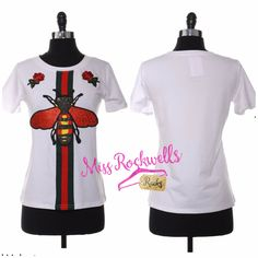 Boutique Top S/M M/L White Red Metallic Fly Stitched Luxury Embellished T Shirt #Boutique #TShirt