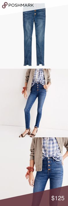 "Madewell 10"" high-rise skinny jeans: chewed-hem Madewell 10"" high-rise skinny jeans: chewed-hem edition.  size 28 item g9219 COLOR: copeland wash  PRODUCT DETAILS lean and sexy jeans crafted with the very latest in stretch denim technology. The sky-high 10"" rise has a supersleek effect, thanks to a tricky detail—Magic Pockets in front that offer an extra layer of holds-you-in sorcery for the slimmest, smoothest look yet. Madewell Jeans Skinny"
