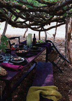 purple picnic table