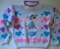 Vintage 90s Beauty and The Beast Childrens Girls Belle Sweater White Hearts 6X | eBay #vintage #1990s #disney #disneyana #vintagedisney #beautyandthebeast #belle #princessbelle #disneyprincess #vintagekidsclothes #90s