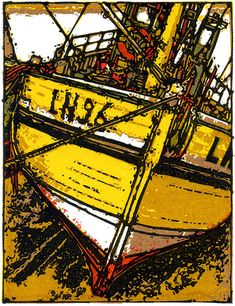 LN96-Dry Dock, linocut, by H.J. Jackson
