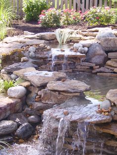 pond and waterfall.