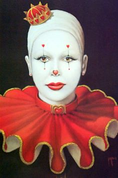 """The Art of Jim Howle """" Queen of Hearts """" Signed Limited Print 13 350 Clown Hat, Cute Clown, Creepy Clown, Circus Art, Circus Clown, Circus Theme, Clown Mignon, Clown Images, Image Halloween"""