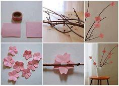 rózsaszín, cseresznyevirág, origami, bot