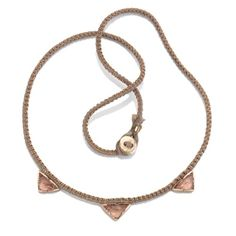 Triple Pyramid Rose Pink Tourmaline Mocha Silk Gold Necklace - Fine jewellery, necklaces - Rose Gold - Brooke Gregson