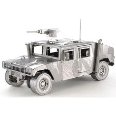 "Humvee Metal Model Kits | CALENDARS.COM - $18.99 | The technical name for this four-wheel drive military vehicle produced by AM General is the High Mobility Multipurpose Wheeled Vehicle (HMMWV). It was designed primarily for personnel and light cargo transport behind front lines and not as a front line fighting vehicle. This detailed DIY HUMVEE Metal Sheet start as 4"" square sheets and finish as amazing 3D models."