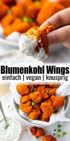 """Gebackener Blumenkohl mit Buffalo Sauce Super simple recipe for crispy baked cauliflower (cauliflower """"wings"""") from the oven with ranch sauce. Super delicious, vegan and the perfect feel-good dish! You can find more vegan recipes at veganheaven. Healthy Food Recipes, Tasty Vegetarian Recipes, Vegan Dinner Recipes, Vegan Foods, Vegan Dishes, Veggie Recipes, Vegan Vegetarian, Whole Food Recipes, Cooking Recipes"""