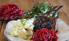Vino Cotto Lamb Rack with Waxy Potato, Pancetta, Beetroot and Orange Salad  - Maggie Beer #vincotto #petimezi