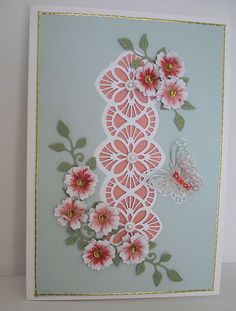 by Marjorie Ramsay - Ravello striplet - Magical Butterflies - FSS flowers - unknown leaf die. Hand Made Greeting Cards, Making Greeting Cards, Butterfly Cards, Flower Cards, Cards Made With Unbranded Dies, Pinterest Birthday Cards, Tonic Cards, Handmade Birthday Cards, Handmade Cards