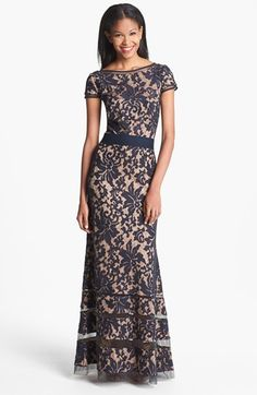 Tadashi Shoji Cap Sleeve Lace Gown available at #Nordstrom