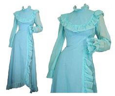 Ruffled Prairie Dress 70s Prom Dress Powder Blue Victorian Style S $175.00 by susiesboutiquecloths