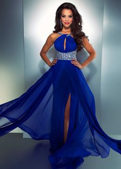Free shipping on Cassandra Stone by Mac Duggal 61306A electric blue beaded halter prom dresses available now at RissyRoos.com.