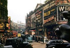 Photograph of London Piccadilly Circus by Chalmers Butterfield. Dated 1949